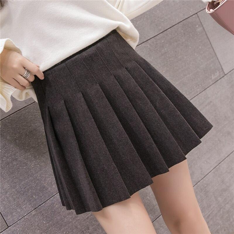 02a3f0b16 Nuevo Otoño Invierno faldas de lana alta cintura A-Line plisada Mini falda  coreana estilo Preppy mujeres faldas gris/negro