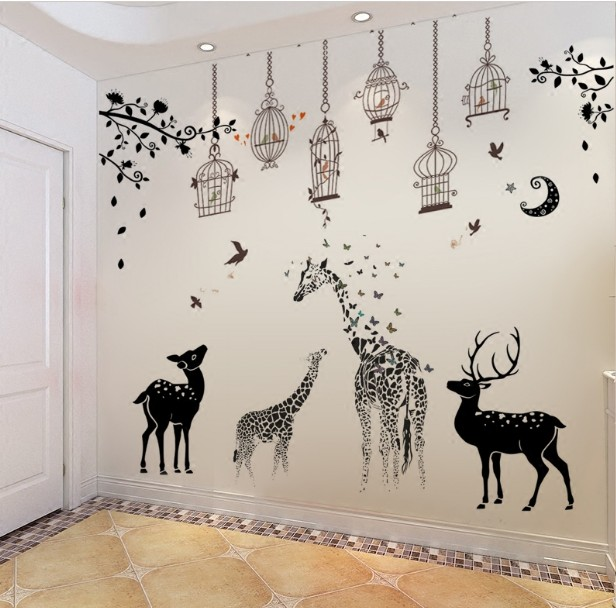 free shipping Large vinyl wall sticker Home Decoration Animal Wall decor Wall Mural wallpaper muurstickers vinilos paredes Mural