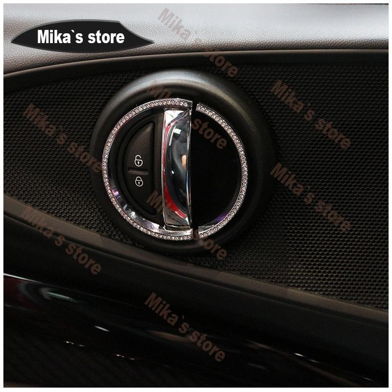 Mini cooper voiture-style pour voiture F55 F54 F56 F60 intérieur poignée de porte diamant décoration cristal autocollant voiture style (2 ensembles/4 ensemble)