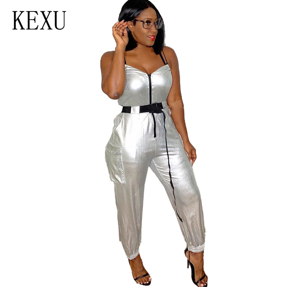 KEXU Bronzing Reflective Personality Straps Jumpsuits Sexy Sleeveless Zipper Bodycon Bandage Playsuits Women Summer Rompers in Jumpsuits from Women 39 s Clothing