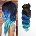 7A Virgin Brazilian #1B/Blue/Green Ombre Clip In Human Hair Extensions Wavy Human Hair 7pcs/set Clip in hair Free Shipping