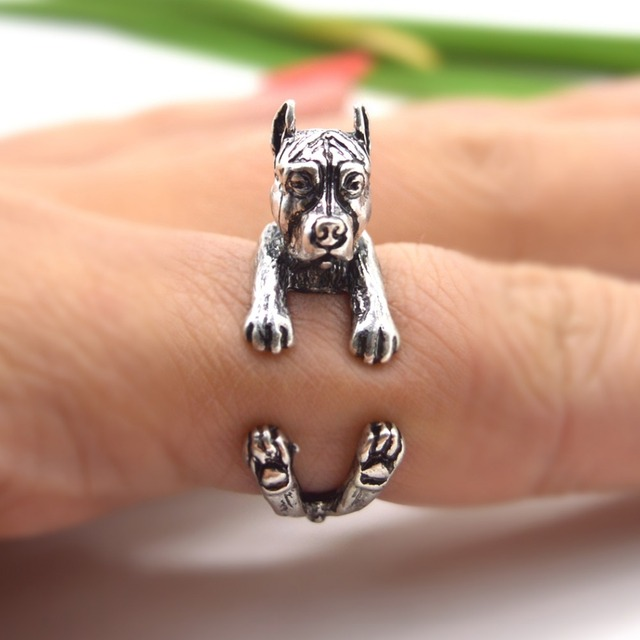 QIAMNI Pet Lovers Gift Handmade Boho Chic PitBull Dog Animal Rings for Women Men