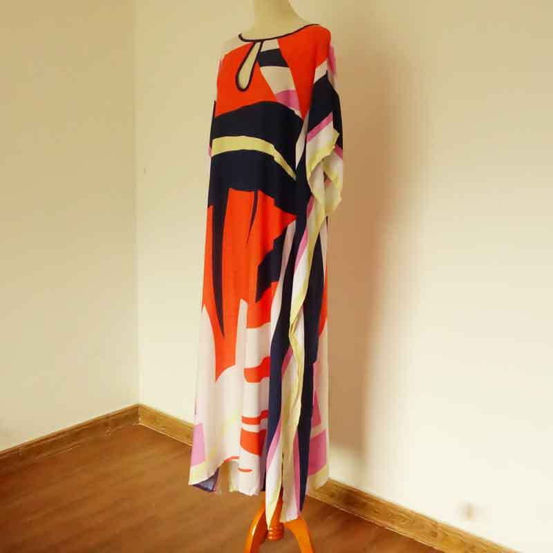 5dc4af4367b87 Kaftan Beach Wear Cover Up Tunic Dress Women's Beachwear Ladies 2018  Quality Sun Clothes Print Cotton Sierra Surfer-in Cover-Ups from Sports &  Entertainment ...