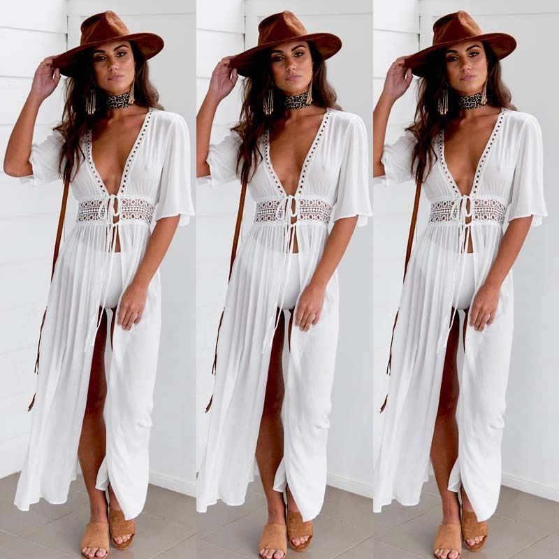 2020 여름 Pareo 비치 커버 여성용 튜닉 비치 반소매 V 넥 화이트 비치 드레스 착용 수영복 Vestidos Cover Up
