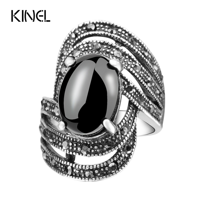 Unique Vintage Fashion Black Rings For Women Tibet Silver Alloy Antique Oval Ang
