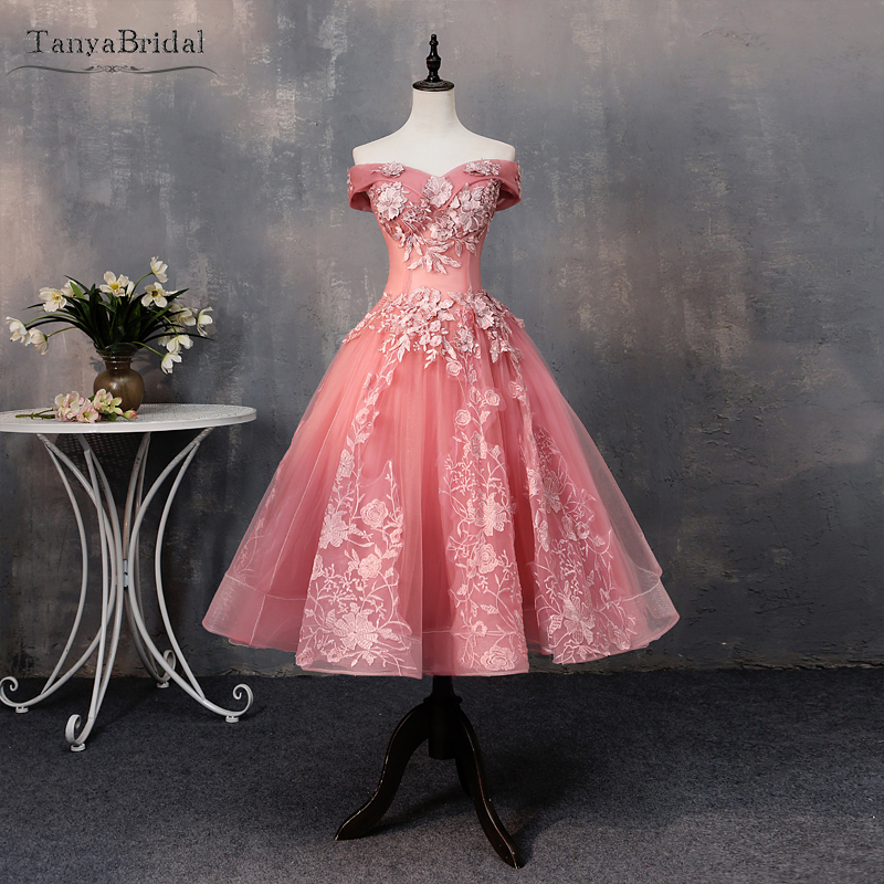 Dusty Pink Cocktail Party Gowns Off The Shoulder Fairy Homecoming Dresses Girl's Back To School Wear Festa DHC003
