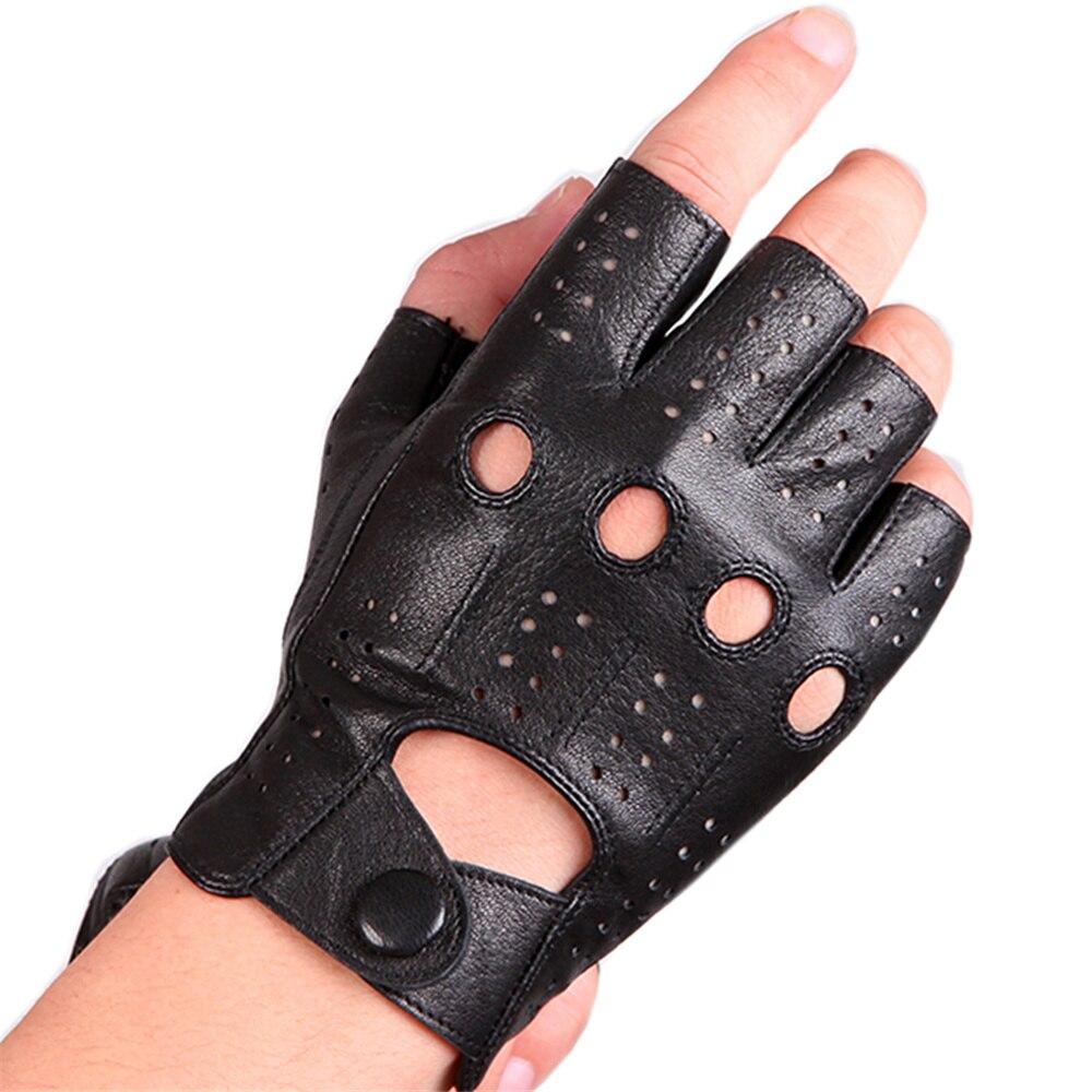 Radient Leder Halbfingerhandschuhe Männer Dünne Abschnitt Fahr Belichten Schaffell Handschuhe Half-kämpfen Handschuhe Imitation Hirschleder Muster Herren-handschuhe