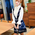 2016 moda otoño invierno preppy style (elegancia sin mangas correa d a-line plaid dress del algodón del estilo preppy chaleco gallus dress