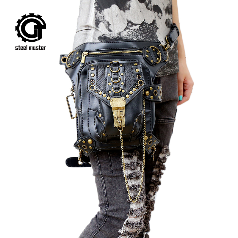 Steampunk Waist Bag Exclusive Retro Rock Gothic Bag Packs Shoulder Bag Vintage Men Women Leather Leg Bag 2017 chrismas gift steampunk bag steam punk retro rock gothic bag goth shoulder waist bags packs victorian style women men leg