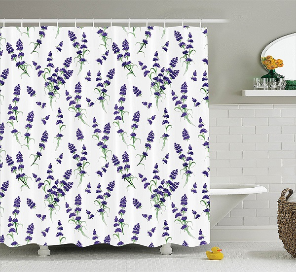 Shower Curtain Purple Flower Lavender Plants Aromatic Evergreen Shrub Lilac Waterproof Polyester Bathroom Decorative Curtains In From Home