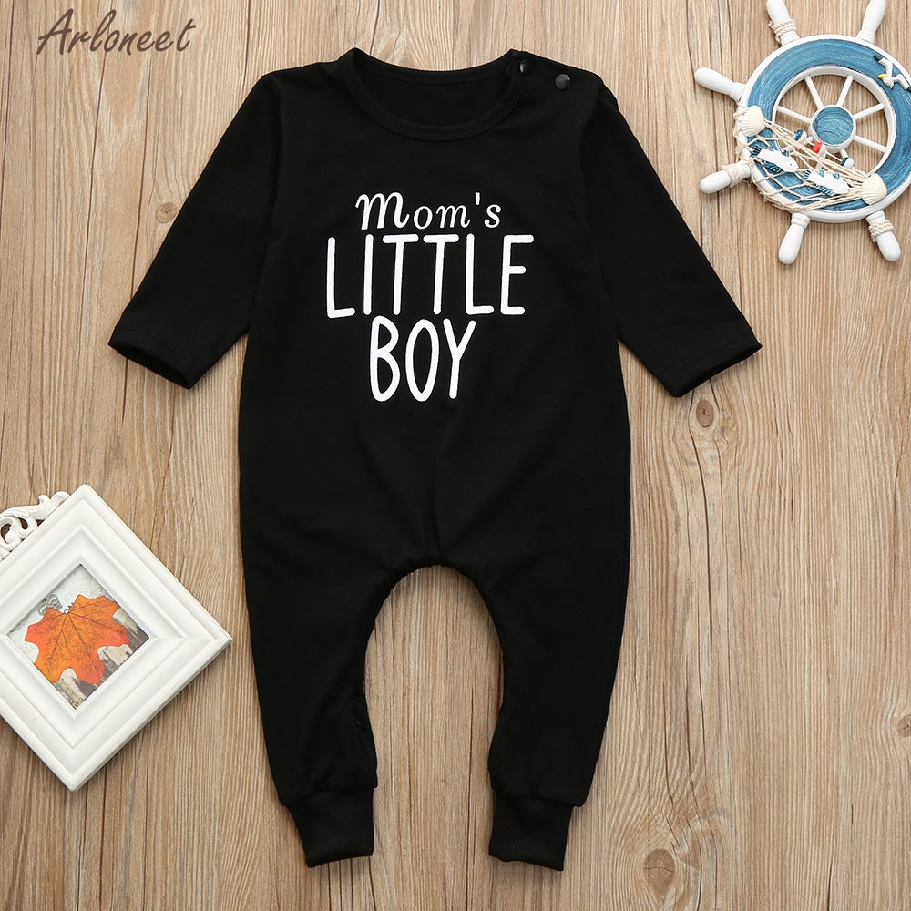 TELOTUNY Baby Boy Clothes Cotton Newborn Kids Baby Boys Letter Print Romper Jumpsuit Pajamas Clothes Outfits Y121330