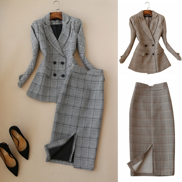 Set female early spring new fashion suit skirt OL temperament long-sleeved plaid suit + skirt elegant two-piece suit