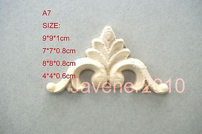 A7-4x4x0.6cm Wood Carved Corner Onlay Applique Unpainted Frame Door Decal Working Carpenter Cabinet