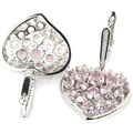 Love Heart Pink Kunzite, White CZ SheCrown Woman's Created  Silver Earrings 43x21mm
