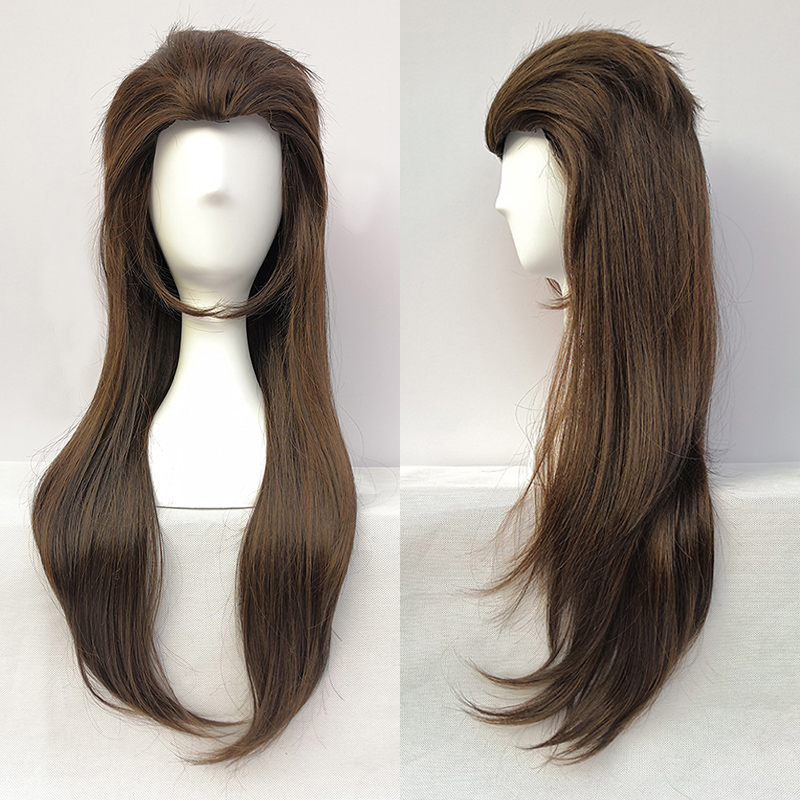 Game Sallyface Larry 65cm Long Brown Mixed Heat Resistant Hair Cosplay Costume Wig + Free Wig Cap
