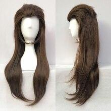 لعبة Sallyface لاري 65 سنتيمتر براون طويل مختلط مقاومة للحرارة الشعر تأثيري زي شعر مستعار + غطاء شعر مستعار مجانية