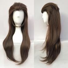 Sallyface peruca para cosplay, peruca longa e castanha, misturada, resistente ao calor, 65cm + peruca livre