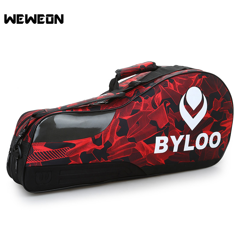 Large Sports Badminton Racket Bag Double Layer Tennis Bag for 3-6 Rackets Single Shoulder Tennis Racquet Bag with Shoes Storage