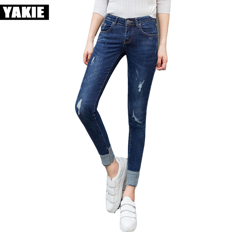 Plus size Ripped Jeans For Women skinny slim hole Pants Winter Jeans Female Stretch mid Waist Jeans Femme Denim pencil Pants hot sale vintage hole ripped jeans woman plus size mid waist skinny jeans women pencil denim pants jeans femme mujer ck005