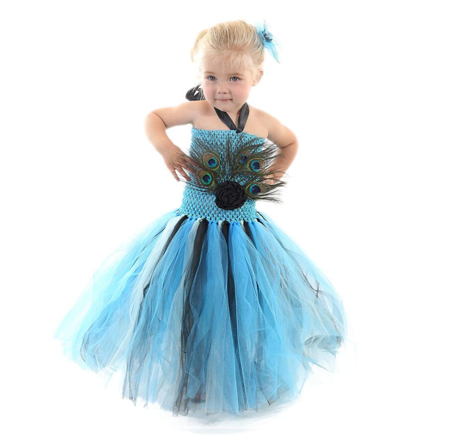 2019 Princess Girls Peacock Feather Tutu Dress Photo Prop Halloween Costume Baby Kids Birthday Party