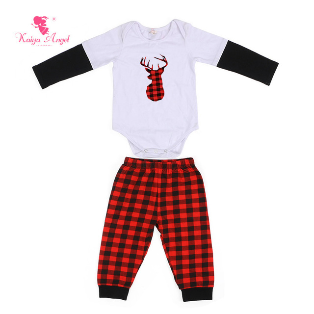 1437df405e8c Kaiya Angel 2017 Christmas Baby Clothes Newborn Girl Clothes Black Red  Hoddle Top Shirt Pants Suit Long Sleeve Infant Clothing