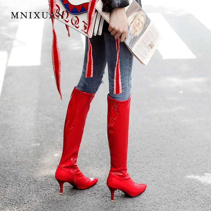 Hauteur Bout Talons Genou Cuir Noir 42 Hiver Haute Mnixuan À blanc Verni Size40 Du Chaussures 2018 rouge Qualité Zipper Rouge Bottes Nouveau En Sexy Pointu Femmes RwwTYq8