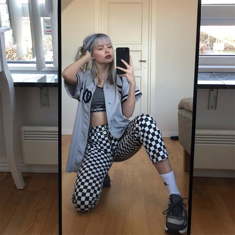 InstaHot Plaid Zipper Checkered Straight Pants Women Fashion Casual Slim Pockets Long Pants Black White Pencil Pantalon Femme 16