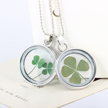 SUKI 2019 Fashion Crystal Round Glass Flower Clover Necklace Long Beaded Chain Pendant Necklaces Women Lucky Wish Locket Jeweley цена 2017