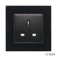 2017 Free Shipping Black Tempered Crystal Glass Panel New UK Standard Socket Wall Outlet Plug Socket
