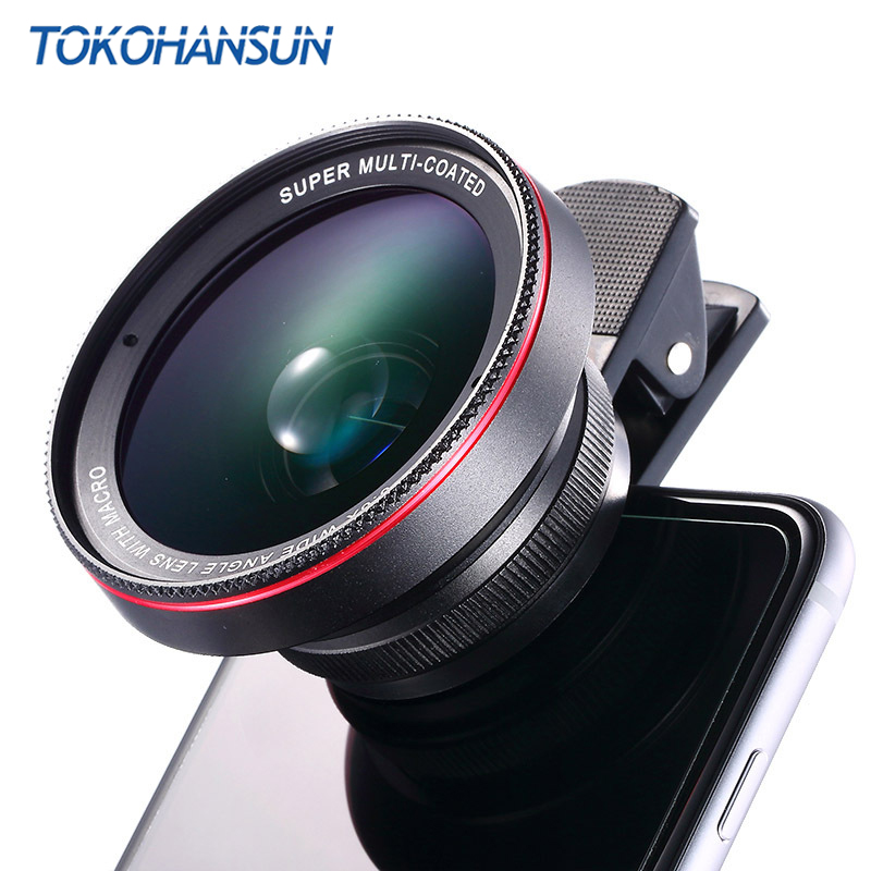 HD Optical Glass 0.6x Wide Angle Lens With 15x Super Macro Lens for iPhone 6s 7 6 8 Plus Samsung S9 S8 Note 8 9 Camera Lens Kit