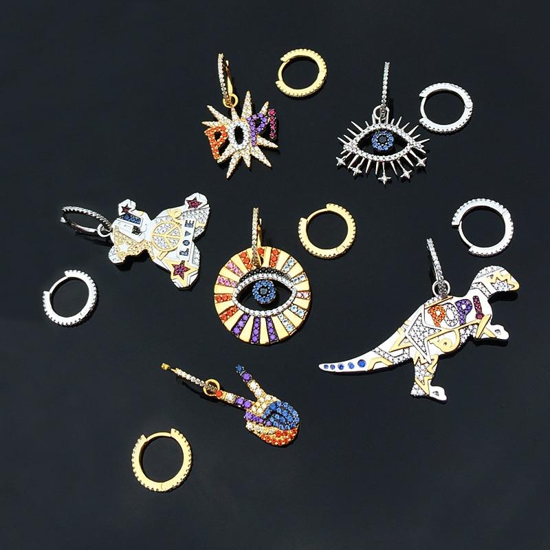 AAA Mode Asymmetriy Hoop Ohrringe Dual Verwendet Studs Schnalle Schmuck Micro Pflastern Kristalle Charms Dinosaurier Bär Ohrringe für Frauen