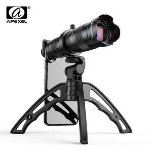 Image 1 - APEXEL Optic phone camera lens HD 28X metal telescope lens monocular with mini selfie tripod for iPhone 78 Xiaomi all Smartphone