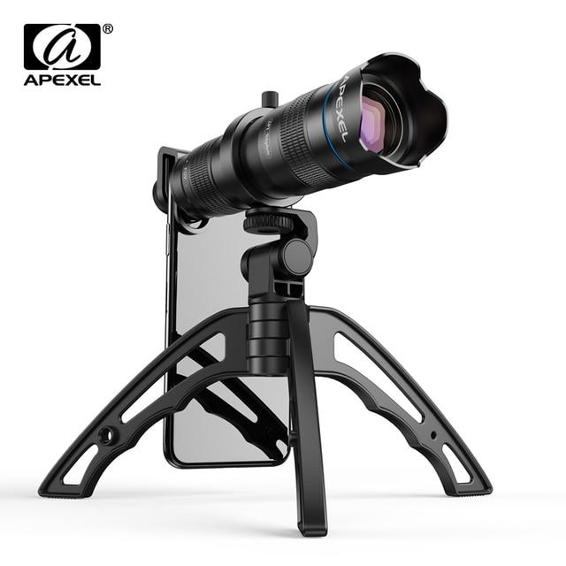 Apexel 光電話カメラレンズ hd 28X 金属望遠鏡レンズ単眼ミニ selfie iphone 4 用三脚 78 xiaomi すべてスマートフォン