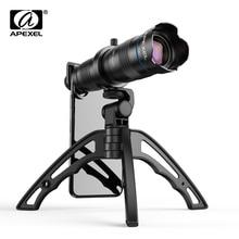 Apexel tripé óptico com lente de câmera, hd 28x, lente telescópica de metal, monocular, com mini selfie, para iphone 78, xiaomi, todos smartphone