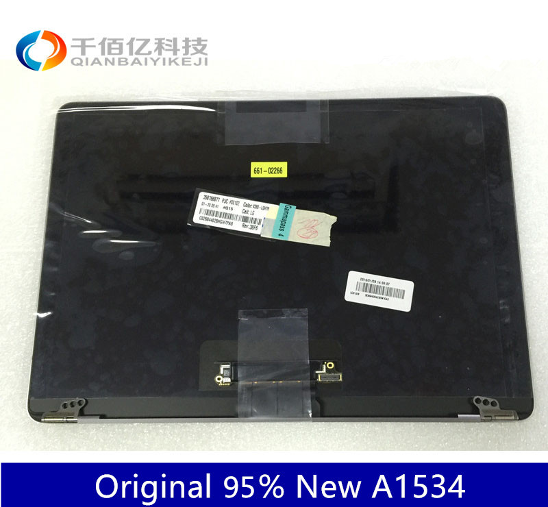 Original Gray Color 95% New A1534 LCD Screen Assembly Gold Sliver for Macbook 12 2015 2016 year with Film Skin