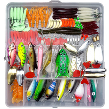 цена на 122/142/164 pcs/set Lure kit Fishing Lure Mixed Hard Bait Frog Spoon Hook Grub Worm Soft Baits Fishing Tackle Accessory A064