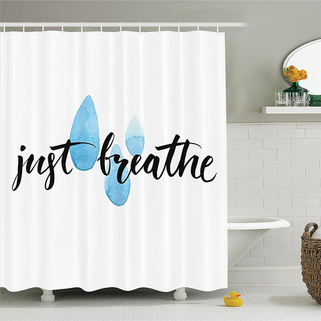 Quotes Just Breathe Inspirational Quote Calligraphy With Raindrop Spots Life Positivity Theme Polyester Shower