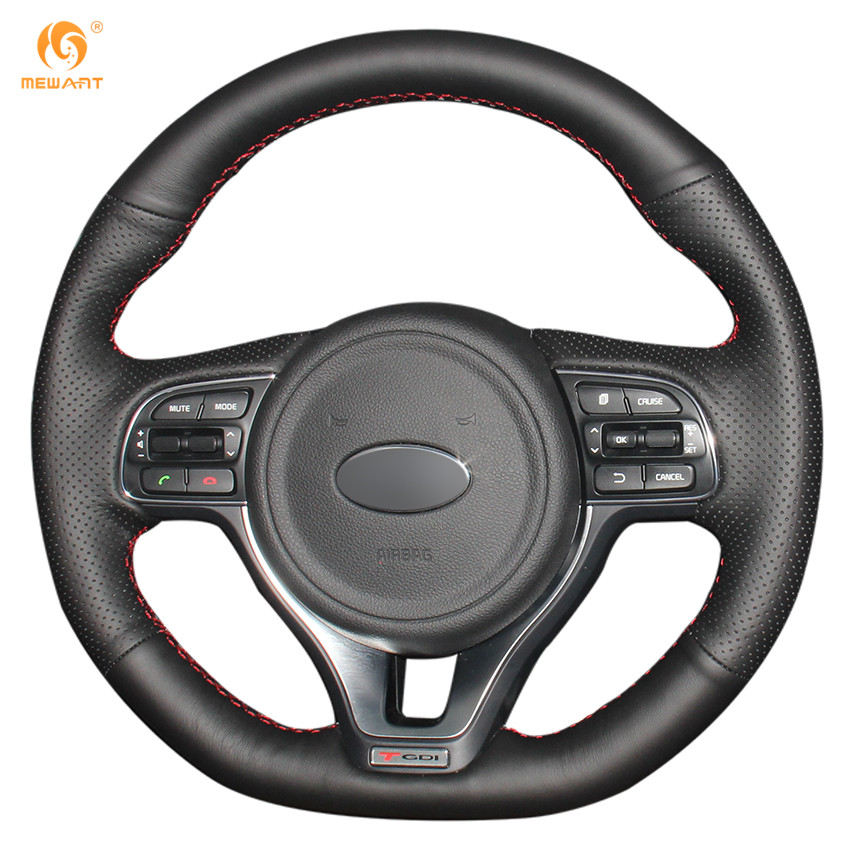 MEWANT Black Genuine Leather Car Steering Wheel Cover for Kia K5 2016 2017 (sport) Sportage 4 KX5 2016 2017 mewant black genuine leather black suede car steering wheel cover for mitsubishi lancer ex outlander asx colt pajero sport