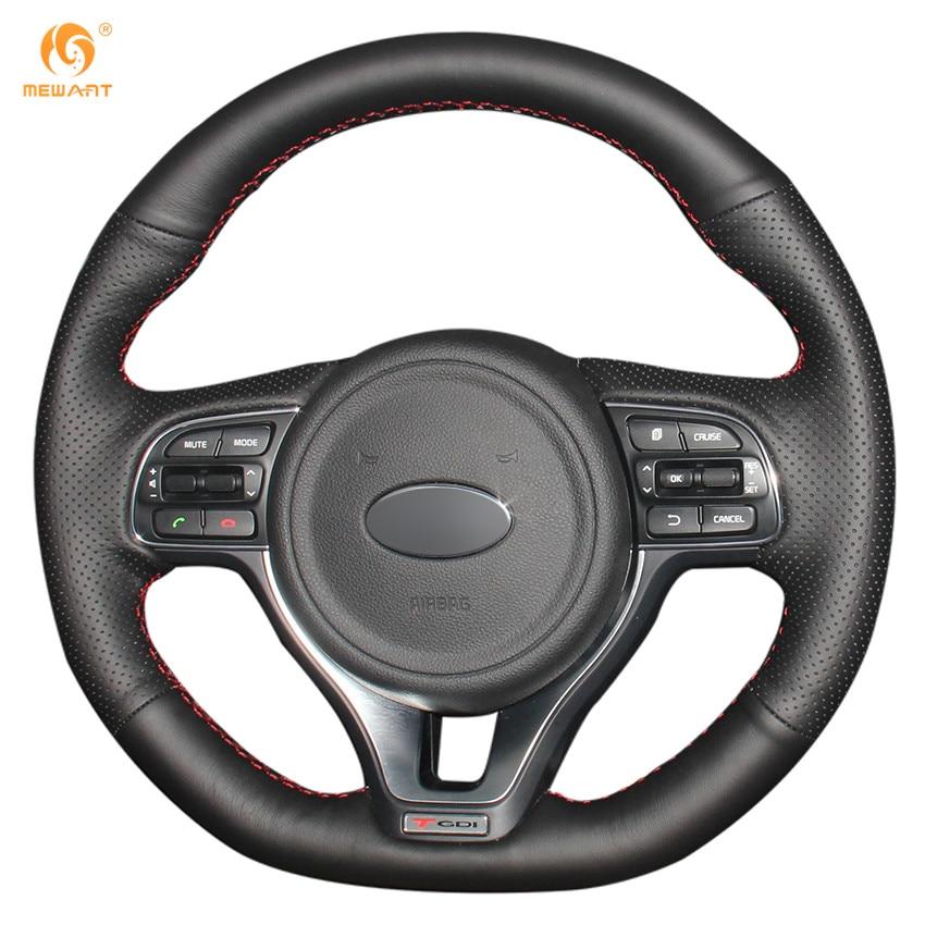 Mewant черный Пояса из натуральной кожи рулевого колеса автомобиля Обложка для KIA K5 2016 2017 (спортивный) Sportage 4 kx5 2016 2017
