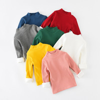 Kids Thermal Underwear Bottoming Shirt 2017 Autumn Winter Cotton Turtleneck Candy Colors Baby Boys And Girls