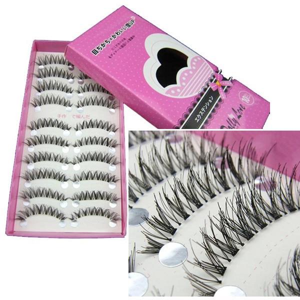Beauty Essentials 10 Pairs Thick Long Cross Party False Eyelashes Black Band Fake Eye Lashes X7245down