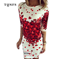 TQNFS 2017 Fashion Women Dress Elegant Half Sleeve Print Summer Dress Red Heart Casual Bodycon Women Pencil Mini Dress Vestidos