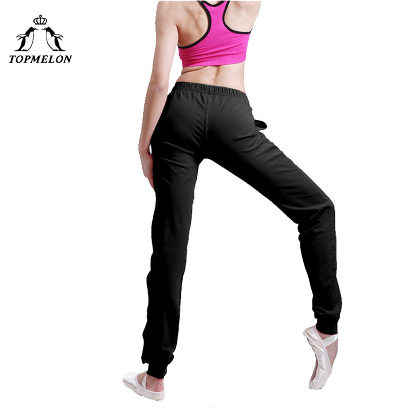 TOPMELON Ballet Dancing Pants for Women Black Soft Long Elastic Pants with Pocket Gymnastics Ballets Wear for Practice Shows