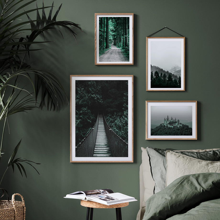 Forest Old Castle Bridge Nordic Posters And Prints Wall Art Canvas Painting Scenery Wall Pictures For Living Room Home Decor in Painting Calligraphy from Home Garden