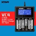 Original XTAR VC4 4 Slots Universal Inteligente Cargador de Batería con Pantalla LCD USB para Ni-MH Li-ion 18650 26650 32650 Batería
