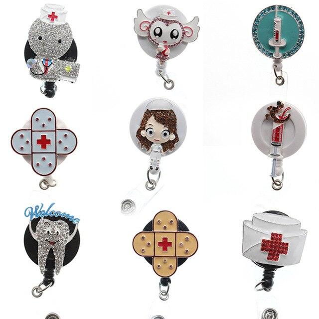 10 pièces nouveau Design de haute qualité 9 style médical mignon ange/médecin/infirmière strass émail infirmière rétractable ID Badge Ho