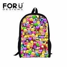 FORUDESIGNS New Arrival Children School Bags Large Kawaii Emoji Smile Face Prints Schoolbag For Teenagers Girls Korean Style