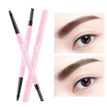 4 Color Double-end Eyebrow Pencil Waterproof Long Lasting Rotatable Triangle Eye Brow Tattoo Pen Easy to Use