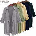 Zanzea 2017 moda mujeres trench coat da vuelta-abajo primavera causal cardigan de manga larga bolsillos loose gasa outwear m-5xl
