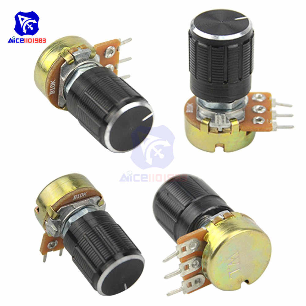 WH148 1K 2K 5K 10K 20K 50K 100K 250K 500K 1M Ω 3Pin Knurled Shaft Linear Taper Rotary Potentiometer Resistor w/Knob for Audrino